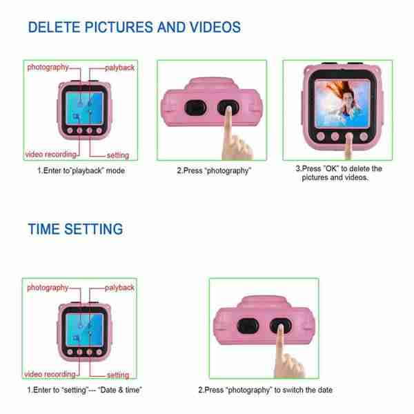 Kids Waterproof Camera with Video Recorder(Pink)