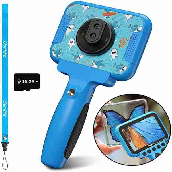 Kids Video Camera for Boys 60 X Magnifier (Light-blue)