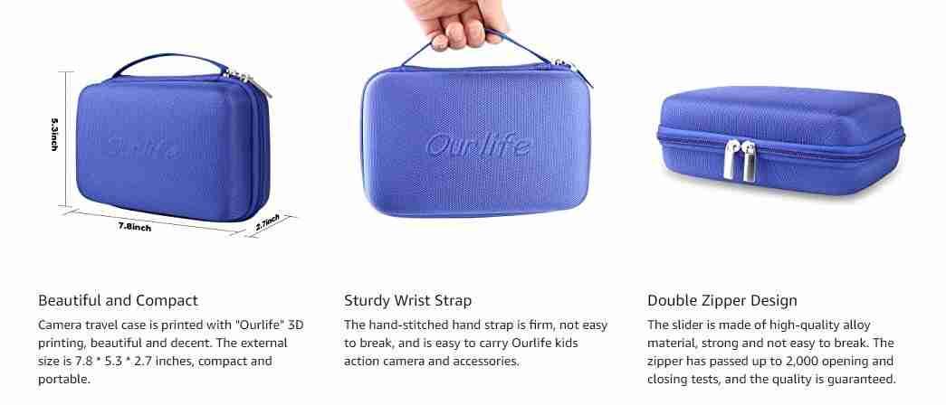 Kids Camera Bag Hard Travel Case (Blue)