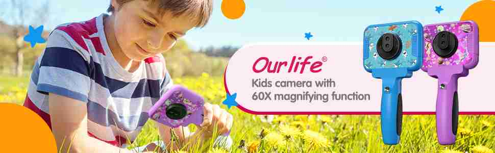 Kids Video Camera for Boys 60 X Magnifier (Purple)