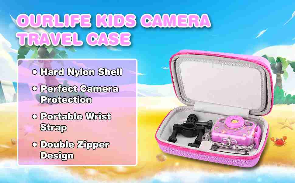 Kids Camera Bag Hard Travel Case (Purple)